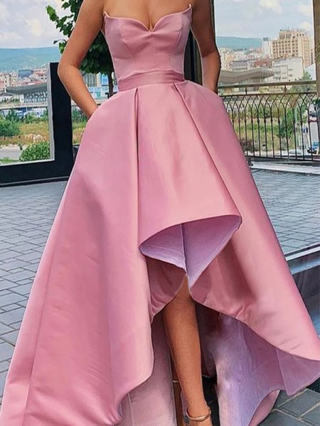 A-Line/Princess Strapless Sleeveless Ruffles Satin Asymmetrical Dresses