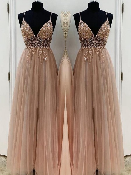 A-Line/Princess Spaghetti Straps Sleeveless Beading Tulle Floor-Length Dresses