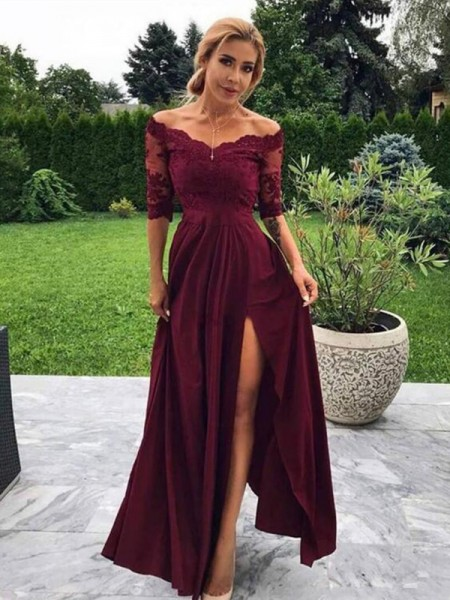 A-Line/Princess Off-the-Shoulder 1/2 Sleeves Applique Satin Floor-Length Dresses
