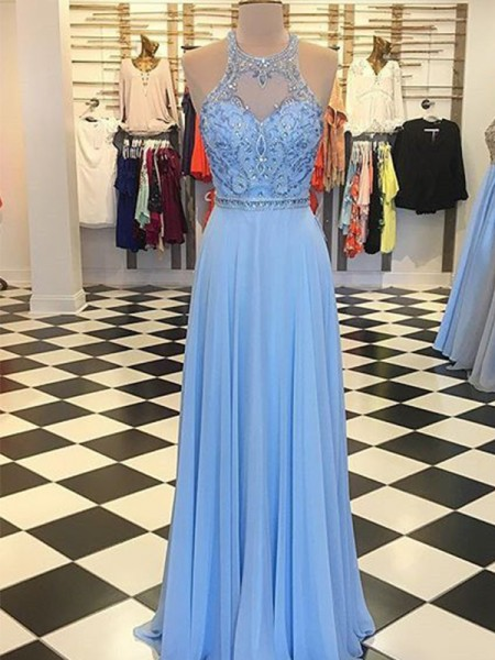A-Line/Princess Halter Sleeveless Beading Chiffon Floor-Length Dresses