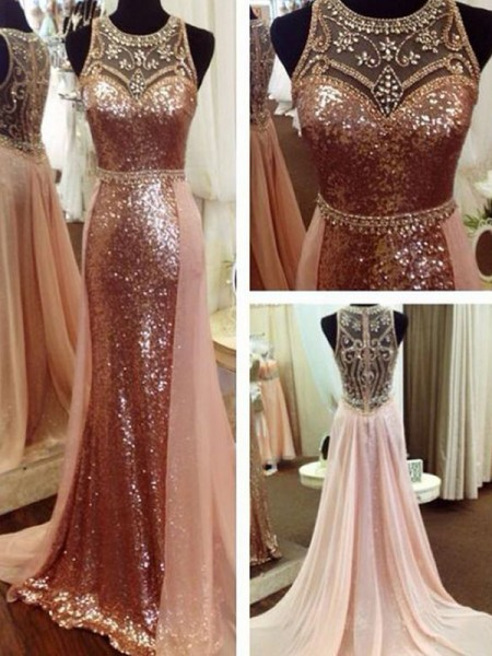 A-Line/Princess Scoop Sleeveless Beading Sequins Sweep/Brush Train Dresses