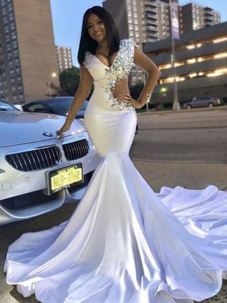 Trumpet/Mermaid V-neck Sleeveless Beading Satin Court Train Dresses
