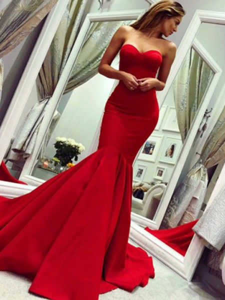 Trumpet/Mermaid Strapless Sleeveless Ruffles Satin Court Train Dresses