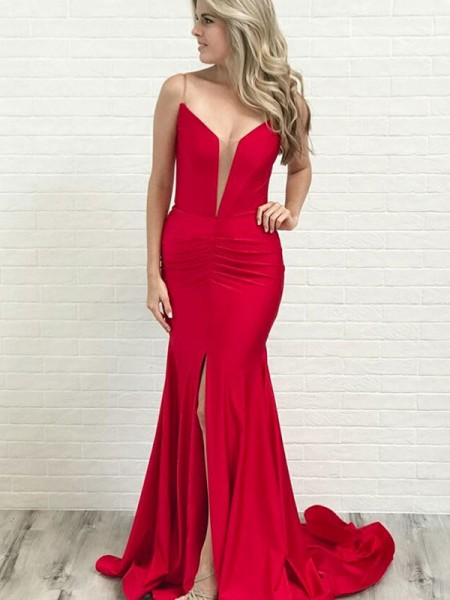 A-Line/Princess Spaghetti Straps Sleeveless Ruched Satin Court Train Dresses