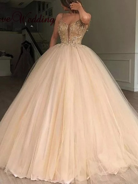 Ball Gown V-neck Tulle Sleeveless Floor-Length Beading Dresses