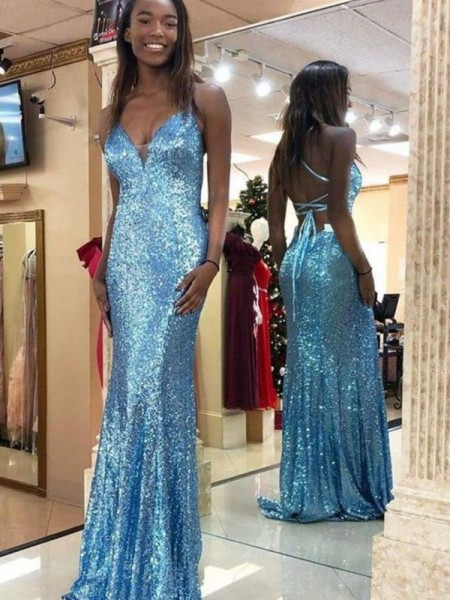 Trumpet/Mermaid Sequins Sweep/Brush Train V-neck Sleeveless Ruffles Dresses