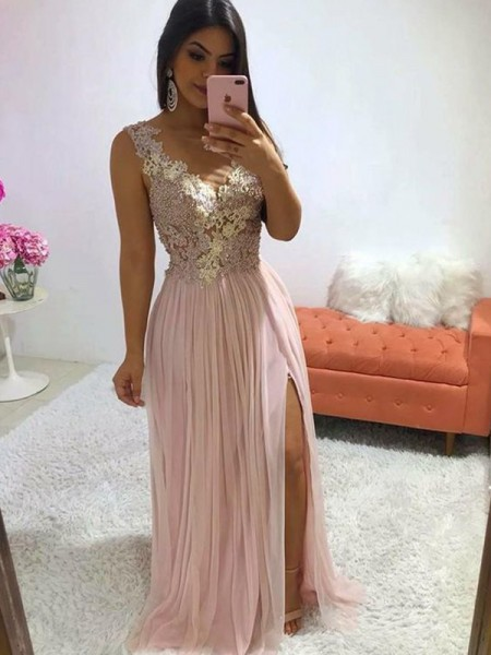 A-Line/Princess Applique Chiffon V-neck Sleeveless Sweep/Brush Train Dresses