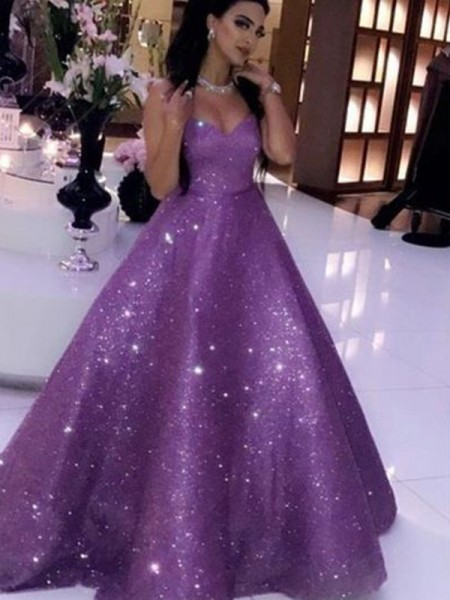Ball Gown Sleeveless Sweetheart Sequins Ruffles Sweep/Brush Train Dresses
