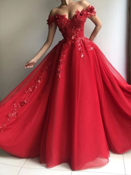 A-Line/Princess Chiffon Sleeveless Floor-Length Off-the-Shoulder Applique Dresses