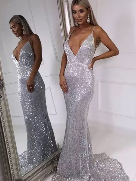 Trumpet/Mermaid Ruffles V-neck Sleeveless Sweep/Brush Train Sequins Dresses