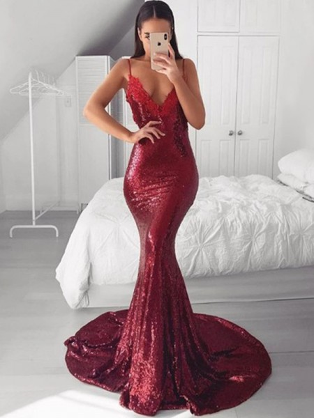Trumpet/Mermaid Sleeveless Sequins Applique V-neck Sweep/Brush Train Dresses