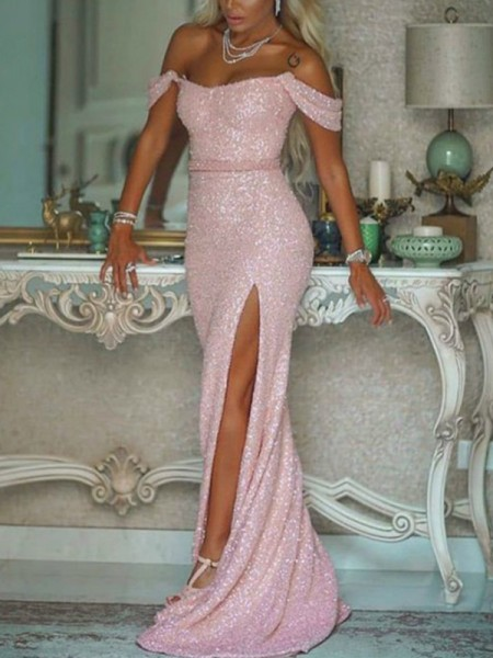 Trumpet/Mermaid Sleeveless Off-the-Shoulder Sequins Sash/Ribbon/Belt Sweep/Brush Train Dresses