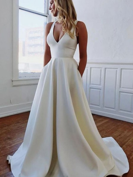 A-Line/Princess Ruffles Sweep/Brush Train Satin V-neck Sleeveless Wedding Dresses