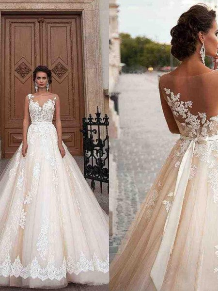 A-Line/Princess Scoop Applique Tulle Court Train Sleeveless Wedding Dresses