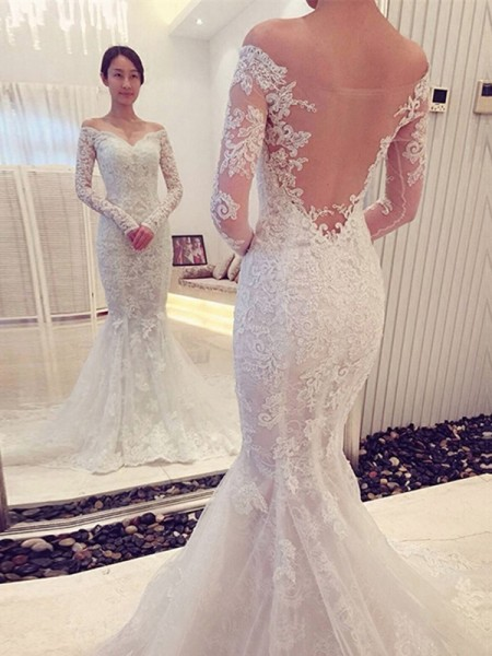 Trumpet/Mermaid Off-the-Shoulder Chapel Train Lace Long Sleeves Wedding Dresses