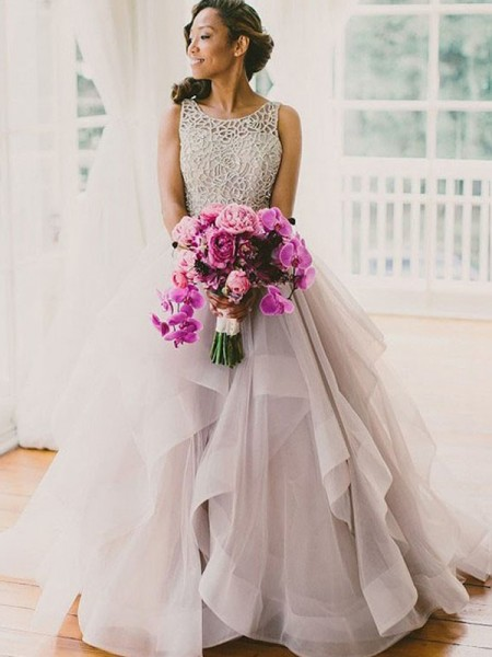 Ball Gown Scoop Floor-Length Tulle Sleeveless Beading Wedding Dresses