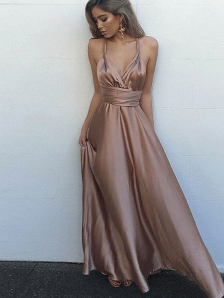 A-Line/Princess Spaghetti Straps Floor-Length Silk Like Satin Sleeveless Sash/Ribbon/Belt Dresses