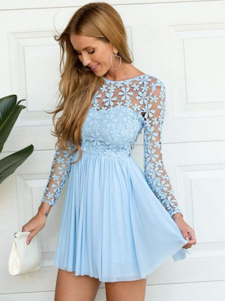 A-line/Princess Chiffon Scoop Long Sleeves Short/Mini Lace Dresses