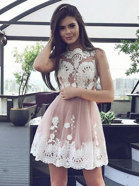 A-line/Princess Chiffon Scoop Sleeveless Short/Mini Lace Dresses