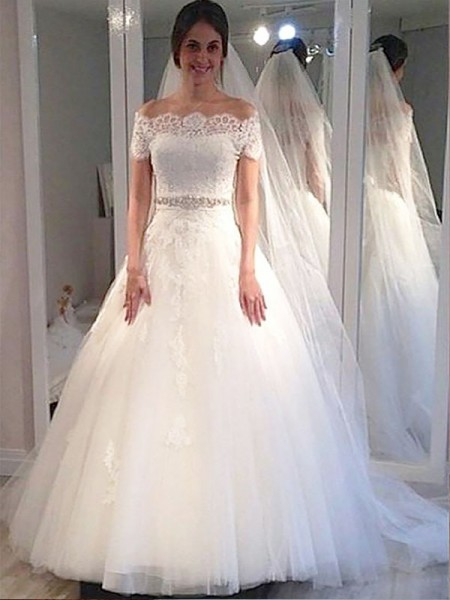 Ball Gown Tulle Off-the-Shoulder Short Sleeves Sweep/Brush Train Wedding Dresses