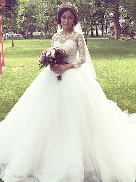 Ball Gown Tulle Bateau Long Sleeves Court Train Wedding Dresses