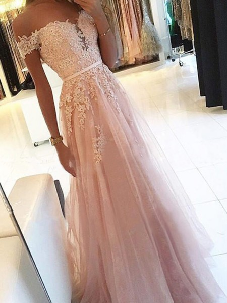 A-Line/Princess Off-the-Shoulder Applique Floor-Length Sleeveless Tulle Dresses