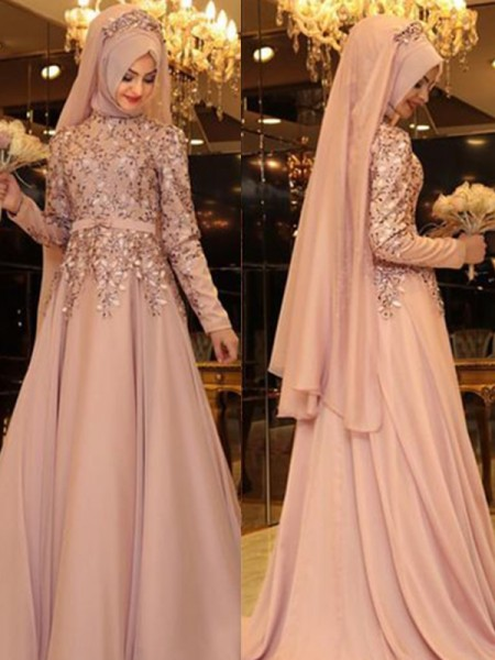 A-Line/Princess High Neck Beading Floor-Length Sleeveless Chiffon Muslim Dresses