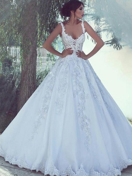 Ball Gown Scoop Lace Sweep/Brush Train Sleeveless Satin Wedding Dresses