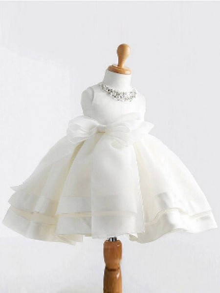 Ball Gown Satin Jewel Sleeveless Bowknot Tea-Length Flower Girl Dresses
