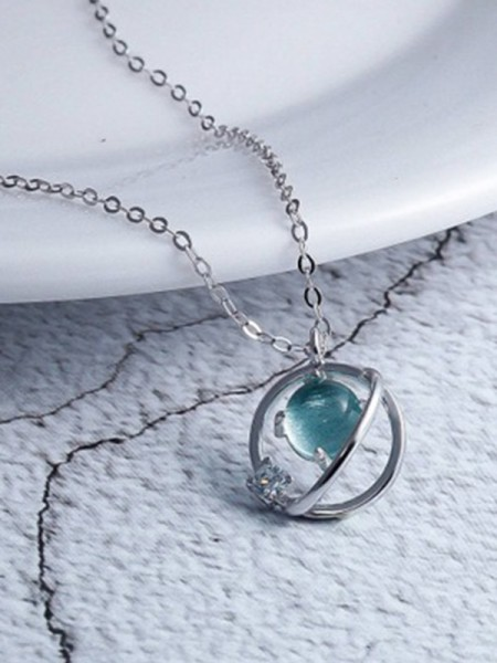 Korean 925 Sterling Silver With Crystal Charming Necklaces