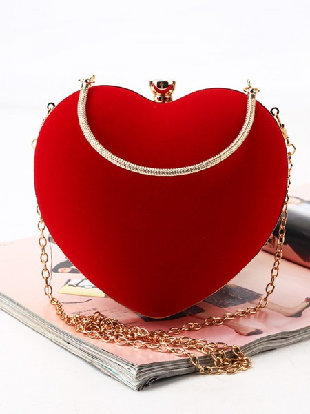 Lovely Velvet Heart-shaped Evening/Party Handbags