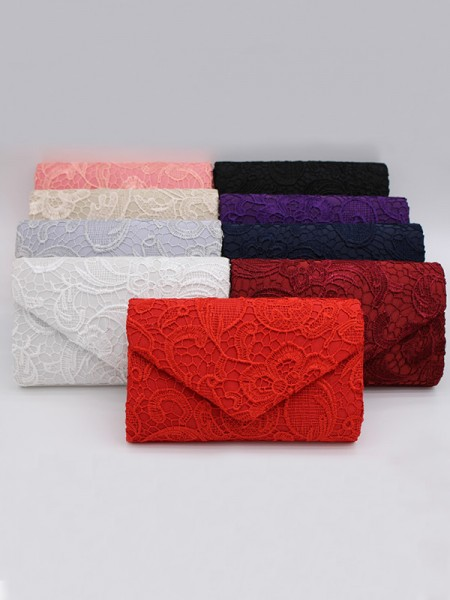 Lace Bridal Handbags With 3D Flowers Evening Party Bag