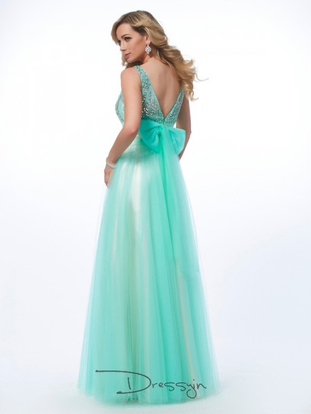A-Line/Princess Sleeveless Beading Floor-Length Net Bateau Dresses