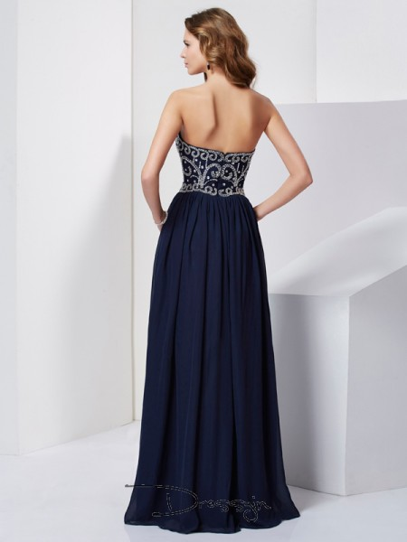 A-Line/Princess Sleeveless Beading Floor-Length Chiffon Strapless Dresses