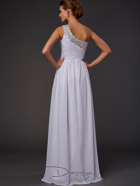 Sheath/Column Sleeveless Beading Floor-Length Chiffon One-Shoulder Dresses