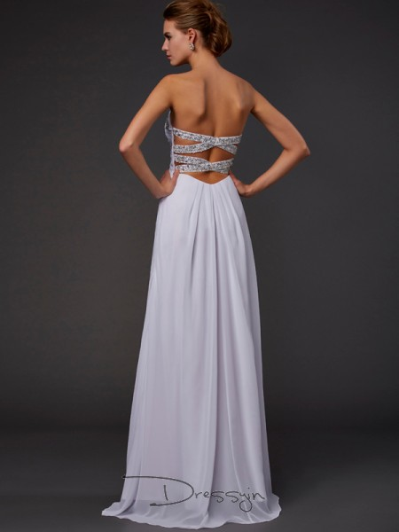 Sheath/Column Sleeveless Beading Floor-Length Chiffon Strapless Sweetheart Dresses