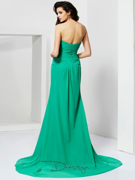 Sheath/Column Sleeveless Beading Sweep/Brush Train Chiffon Sweetheart Dresses