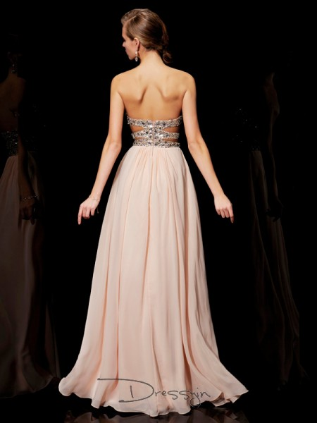 A-Line/Princess Sleeveless Rhinestone Floor-Length Chiffon Sweetheart Dresses