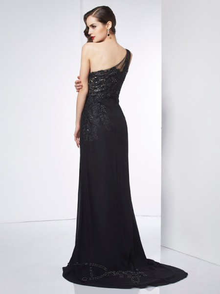 Sheath/Column Sleeveless Applique Sweep/Brush Train Chiffon One-Shoulder Dresses