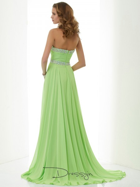 A-Line/Princess Sleeveless Beading Sweep/Brush Train Chiffon Sweetheart Dresses
