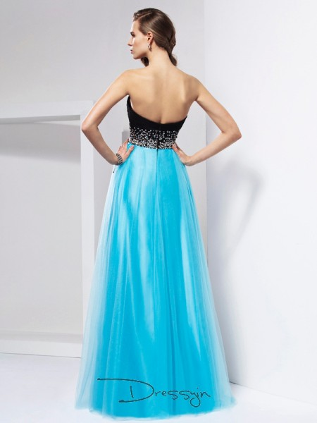 A-Line/Princess Sleeveless Sash/Ribbon/Belt Floor-Length Net Sweetheart Dresses