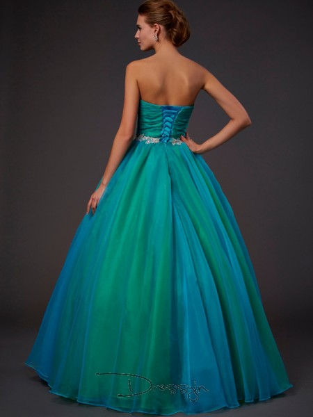 Ball Gown Sleeveless Beading Floor-Length Tulle Sweetheart Dresses