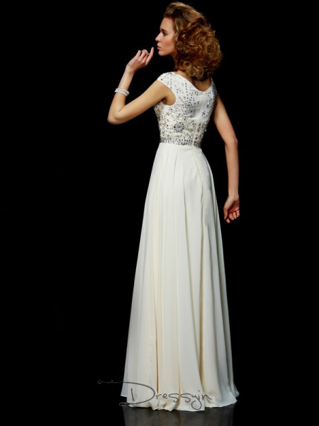 Ball Gown Short Sleeves Beading Floor-Length Chiffon High Neck Dresses
