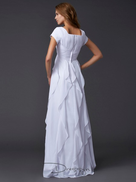 Sheath/Column Short Sleeves Ruffles Floor-Length Chiffon Square Dresses