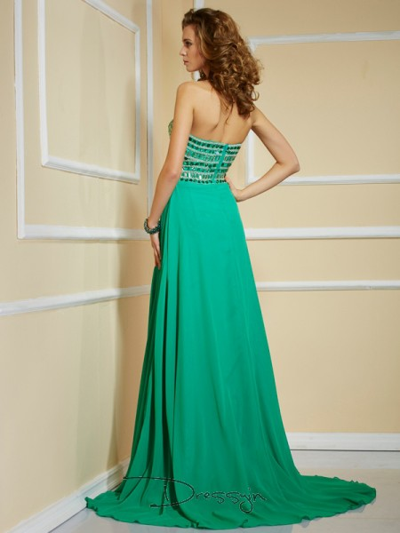 A-Line/Princess Sleeveless Rhinestone Sweep/Brush Train Chiffon Strapless Dresses
