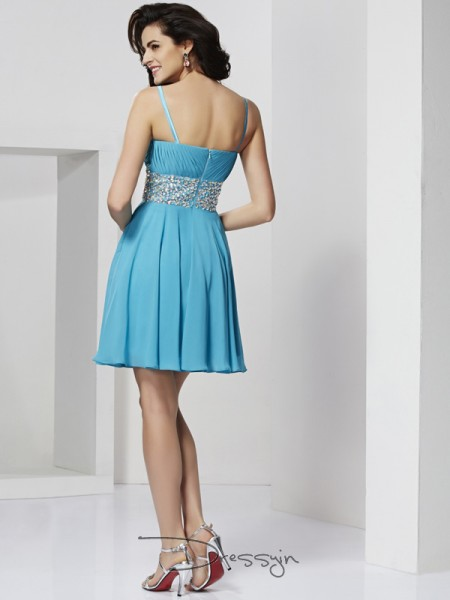 A-Line/Princess Sleeveless Rhinestone Short/Mini Chiffon Spaghetti Straps Dresses