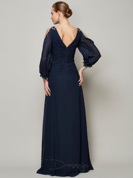A-Line/Princess Long Sleeves Beading Floor-Length Chiffon V-neck Dresses