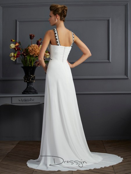 A-Line/Princess Sleeveless Beading Sweep/Brush Train Chiffon High Neck Dresses