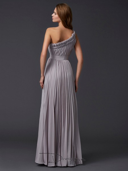 A-Line/Princess Sleeveless Pleats Floor-Length Chiffon One-Shoulder Dresses