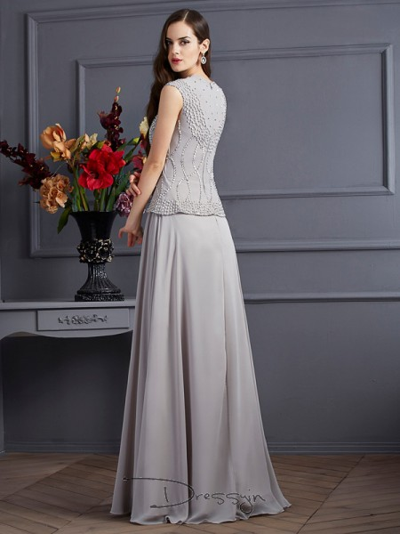 A-Line/Princess Sleeveless Beading Floor-Length Chiffon Square Dresses